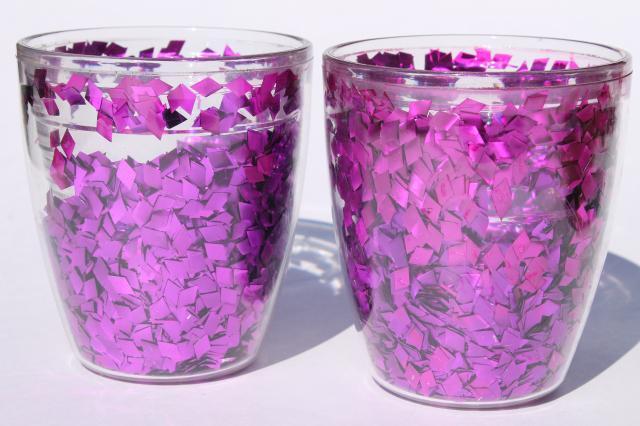 purple glitter flake confetti tervis insulated plastic tumblers drinking glasses