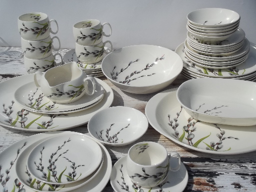 & Pussy willow print 50s vintage W S George china dinnerware set for 6