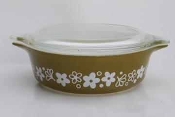 Pyrex crazy daisy spring blossom casserole dish w/ clear glass cover