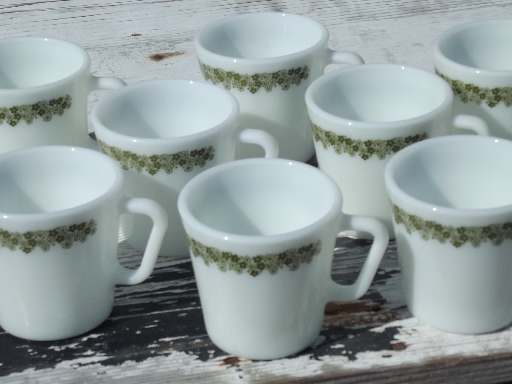 Vintage Bar Cart >> Pyrex Spring Blossom glass mugs / coffee cups, lime green ...
