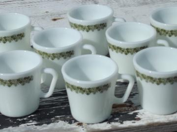 Pyrex Spring Blossom glass mugs / coffee cups, lime green crazy daisy