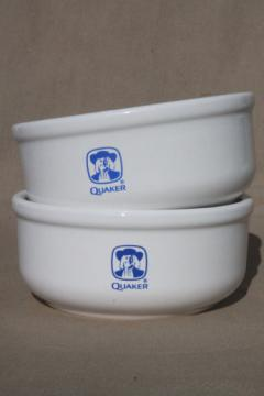 Quaker Oats oatmeal bowls, vintage Waechtersbach pottery made in Spain