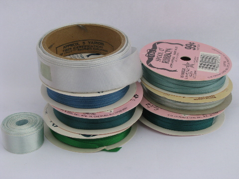 Rainbow colors assorted satin ribbons, ribbon rolls, old sewing trim, retro craft lot