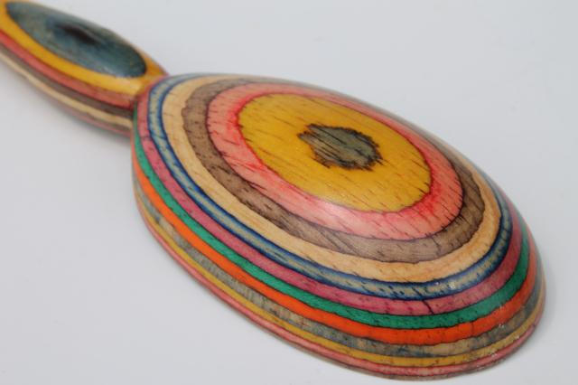 rainbow colors handmade wooden spoon, wood intarsia layered color block stripes