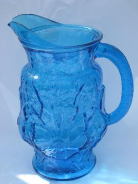 Rainflower retro vintage Anchor Hocking glass pitcher, laser blue