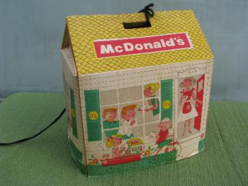 Rare early undated McDonald's paper carrier box, printed dollhouse