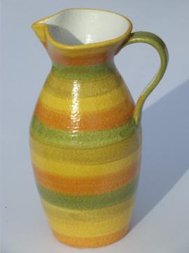 Raymor vintage Italy pottery pitcher, 60s hand-painted Italian ceramic