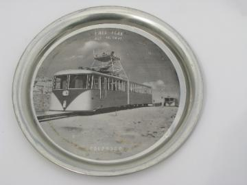 Real photo Pikes Peak railway trolley 50s vintage souvenir cocktail tray