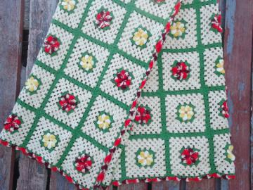 Red and yellow flowers patchwork quilt size crochet granny square afghan