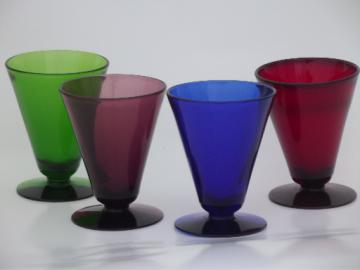 Red, blue, amethyst, green colored glass cocktail / stemless martini  glasses