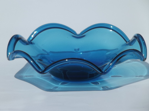 Red & blue hand blown glass bowls, retro mod freeform flower shapes