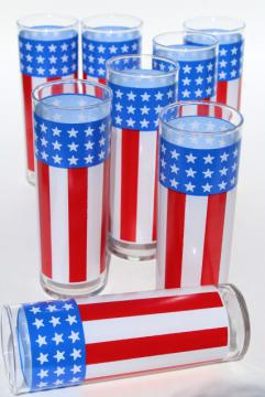 red white blue flag stars & stripes tall tumblers, retro vintage tom collins glasses