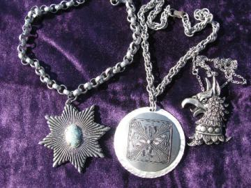 Renaissance gothic vintage jewelry lot, huge star, eagle, cross pendants on chains