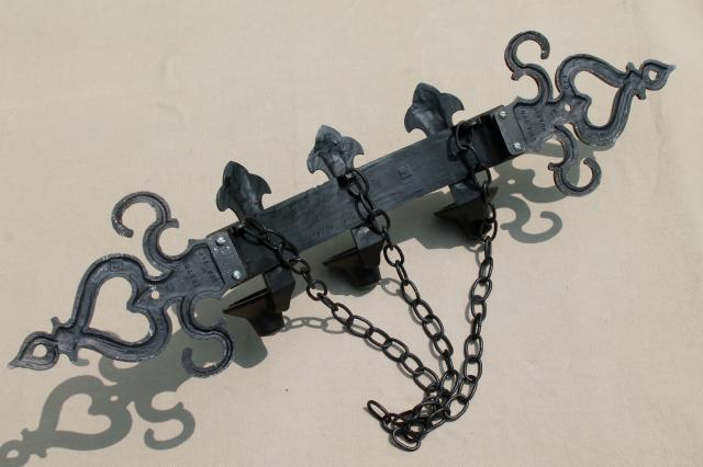 renaissance wrought iron style metal wall mount candelabra, 60s vintage candle sconce for a castle