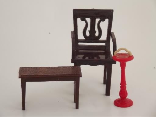 Renwal Plastic Dollhouse Furniture Lot Vintage Celluloid Doll House Dolls
