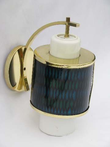 Retro 1950s atomic vintage Moe Light wall sconce canister lamp w/blue & green diffuser shade