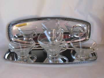 Retro 1950s vintage chrome & glass snack / cocktail sets, mid-century mod