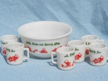 Retro 1950s vintage Tom and Jerry spiked eggnog Christmas drinks set
