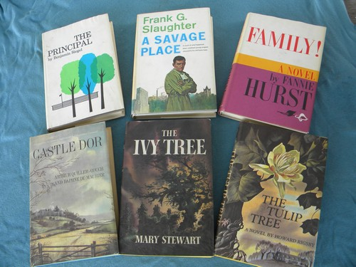 Retro 1960s novels, madmen vintage art dust jackets lot of 6,