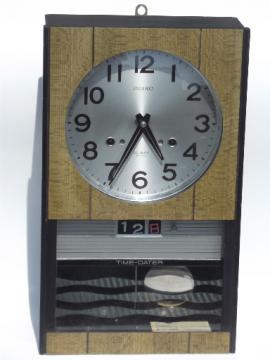 Retro 1960s Seiko Time-Dater 30 day clock wind-up clock w/chimes vintage Japan