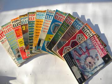 Retro 1960s vintage Popular Electronics magazine full year w/radio&audio projects
