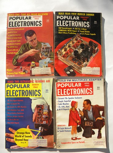 Retro 1963 vintage full year Popular Electronics magazine w/DIY projects