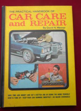 Retro 1970s muscle car vintage auto care and repair handbook illustrated