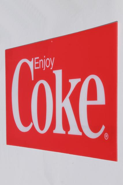 retro 1970s or 1980s vintage Coca Cola plexiglass plastic sign Enjoy Coke
