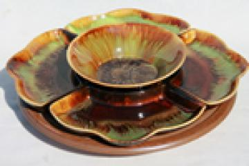 Retro 50s - 60s ranch style drip glaze pottery lazy susan relish dish set w/ turntable