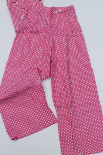 Retro 50s 60s vintage cotton PJs, candy pink polka dot print pajamas mint w/ tag