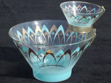 Retro 50s - 60s vintage glass chip n dip set, aqua & mod atomic gold!