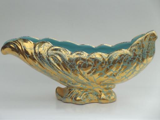 Retro 50s Ceramic Planter Huge Sea Shell Vase Mermaid Blue W