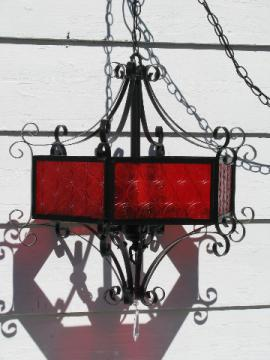 Retro 50s gothic vampire swag lamp chandelier, blood red & black iron