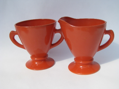 Retro 50s vintage sierra red-orange glass cream pitcher & sugar set