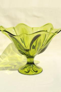 retro 60s 70s avocado green glass fruit bowl, Epic mod shape Viking art glass