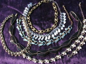 Retro 60s - 70s costume jewelry, choker necklace lot, Trifari, Bergere