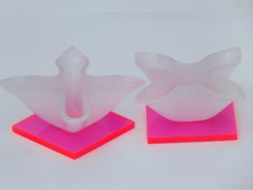 Retro 60s 70s neon pink day-glo florescent plastic candle holders