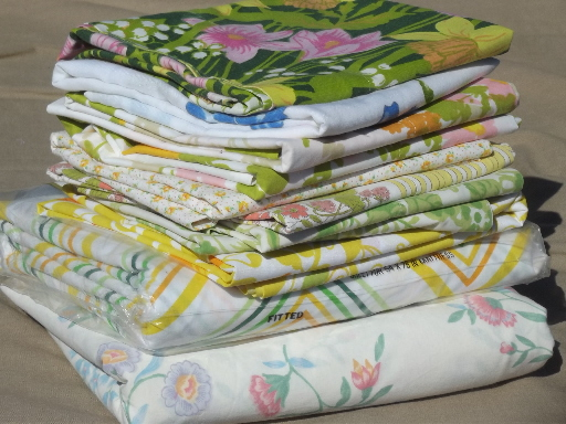 retro 60s 70s print sheets u0026 pillowcases vintage bedding bed linen lot