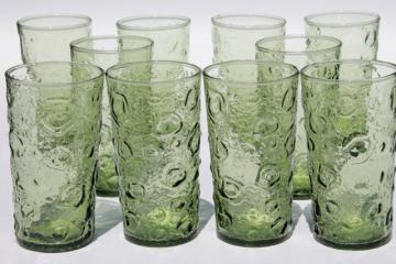 retro 60s 70s vintage bubble crater crinkle textured glass drinking glasses