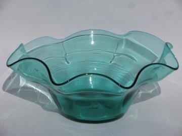 Retro 60s -70s vintage hand-blown art glass bowl, aqua blue colored glass