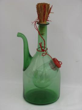 Retro 60s 70s vintage hand-blown Italian glass wine cooler bottle decanter