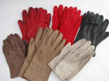 Retro 60s - 70s vintage leather glove lot, six pairs ladies gloves