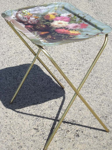 Retro 60s 70s Vintage Metal Tv Tray Tables For 2 Floral