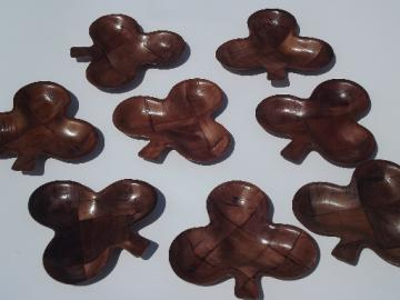 Retro 60s 70s vintage weavewood serving pieces, poker club clover dishes