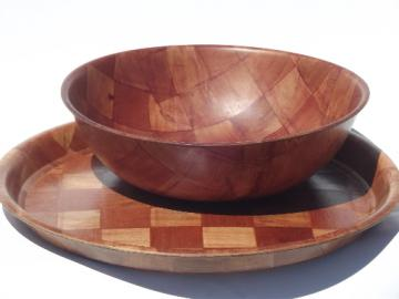Retro 60s 70s vintage weavewood serving pieces, salad bowl and round tray