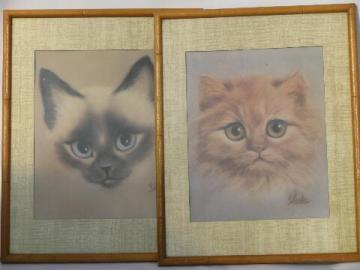 Retro 60s big-eyed fluffy kitty and siamese cat prints, pair mod frames