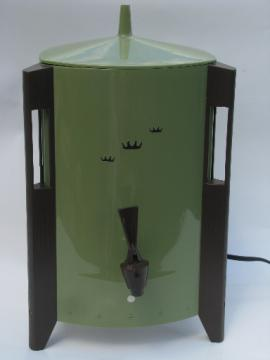 Retro 60s electric coffee percolator, green plastic mod triangle shape