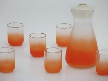 Retro 60s glassware, blendo color fade orange glasses & juice carafe set