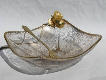 Retro 60s gold spatter glass relish dish w/ attached gold pickle fork