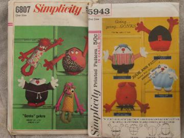 Retro 60s Gonks pillow people to sew, vintage Simplicity sewing patterns